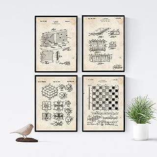 Nacnic Vintage - Pack de 4 Láminas con Patentes de Juegos d