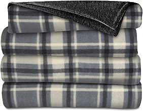 Sunbeam Heated Throw Blanket   Fleece, 3 Heat Settings, Slate/Plaid - TSF8TP-R871-33A00