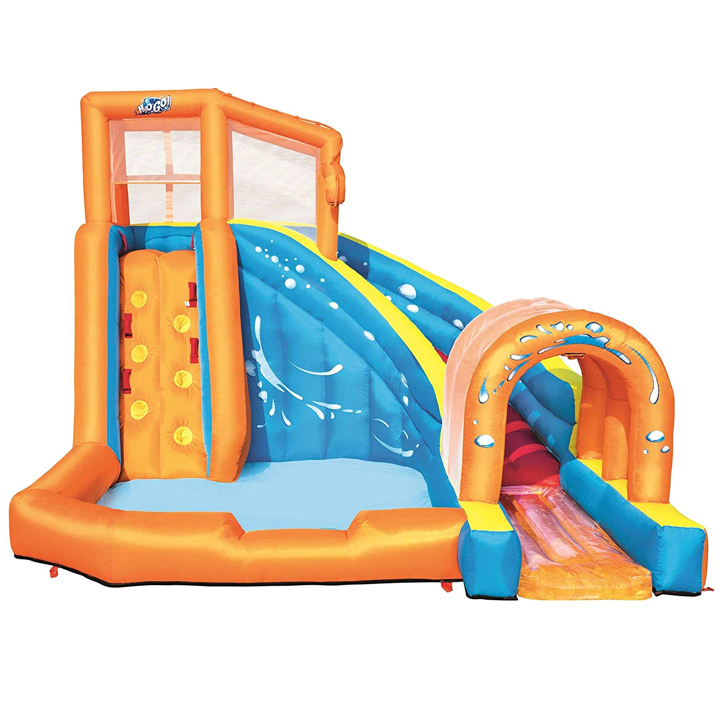 H2OGO! Hurricane Tunnel Blast Mega Inflatable Summer Family Water Park, Multicolored
