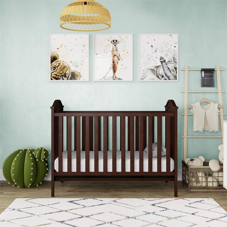 Baby Relax Leandra 2-in-1 Convertible Wood Nursery Crib, Espresso