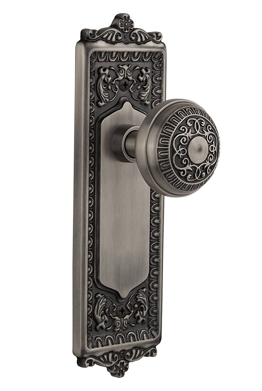 Nostalgic Warehouse BN40-EADEAD-AP Egg and Dart Plate with Egg and Dart Knob Privacy, Antique Pewter
