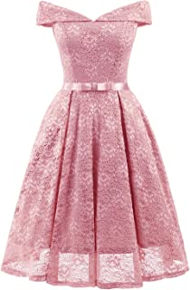 cd60f448ee Chowsir Women Formal Bridesmaid Cocktail Party Prom Lace Midi Dress V-Neck  Sleeveless