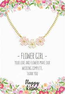 Flower Girl Necklace - Your Love and Flowers Make Our Wedding Complete. Thank You - Message Card