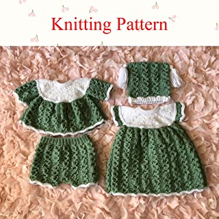 Wavy Edged Dress, Angel Top, Pants and Hat Knitting Pattern (no.55) to fit 0-3 month old baby or 18 to 20 inch doll