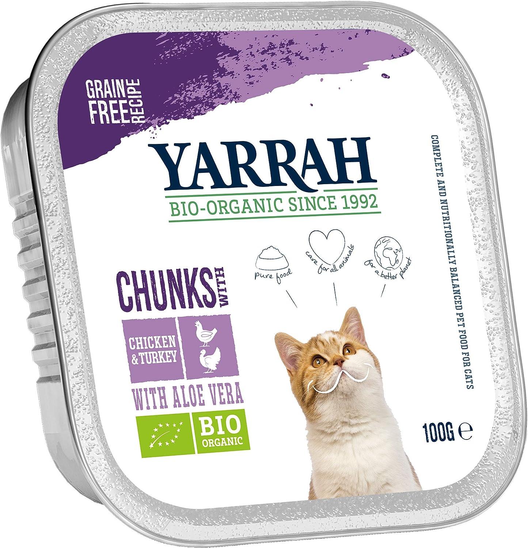 Yarrah Pollo, 100 g, alimento orgánico para Gatos, 16 Unidades (16 x 0,1 kg)