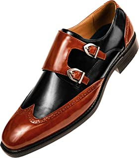 The Original Mens Smooth Faux Leather Double Monk Strap Formal Tuxedo Oxford Wingtip Dress Shoe