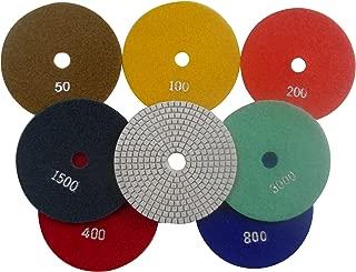 Konfor 5 Inch 7-Step Wet Diamond Polishing Pads Premium Grade for Stone Concrete Marble Granite 7 Pcs Set