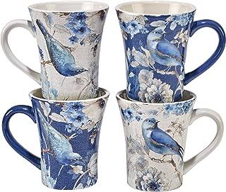 Certified International Indigold Bird Mugs (Set of 4), 15 oz, Multicolor