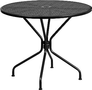 "Flash Furniture Commercial Grade 35.25"" Round Black Indoor-Outdoor Steel Patio Table"