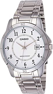 Casio Men's White Dial Stainless Steel Band Watch - MTP-V004D-7
