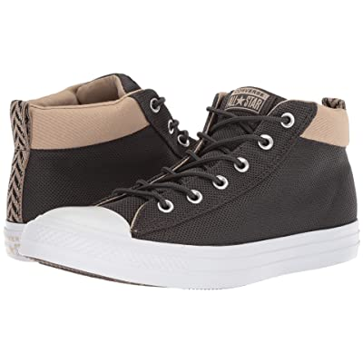 Converse Chuck Taylor All Star Street Mid (Almost Black/Vintage Khaki/White) Classic Shoes