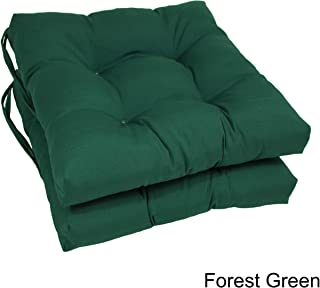 Blazing Needles 16-inch Dining Chair Cushion (Set of 2) Forest Green Chair Ties, Tufted, Dining