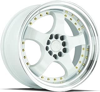 AodHan AH03 Wheel - White Machined Lip (Gold Rivets): 17x9 Wheel Size; 5x100/114.3 Lug Pattern; 73.1mm Hug Bore; 25mm Off Set.