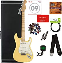 Fender Player Stratocaster, Maple - Buttercream Bundle with Hard Case, Cable, Tuner, Strap, Strings, Picks, Capo, Fender P...