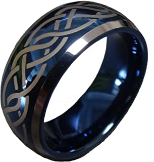 Fashion Month Mens Womens 8mm Blue Tungsten Carbide Wedding Ring Laser Celtic Knot Engagement Promise Band Comfort Fit
