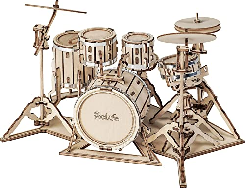high quality Rolife online 3D Wooden Puzzles for Adults Drum kit sale Musical Instrument Model(TG409) outlet online sale