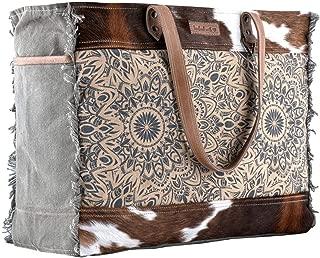 Sixtease Mandala Upcycled Canvas & Genuine Leather Weekender Bag SB-2160