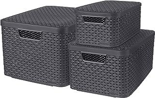 CURVER Lot de 3 Boîtes avec Couvercle - 3 Caisses (6L+18L+30L) en Plastique avec un Design Rotin Tressé pour Salle de Bain...
