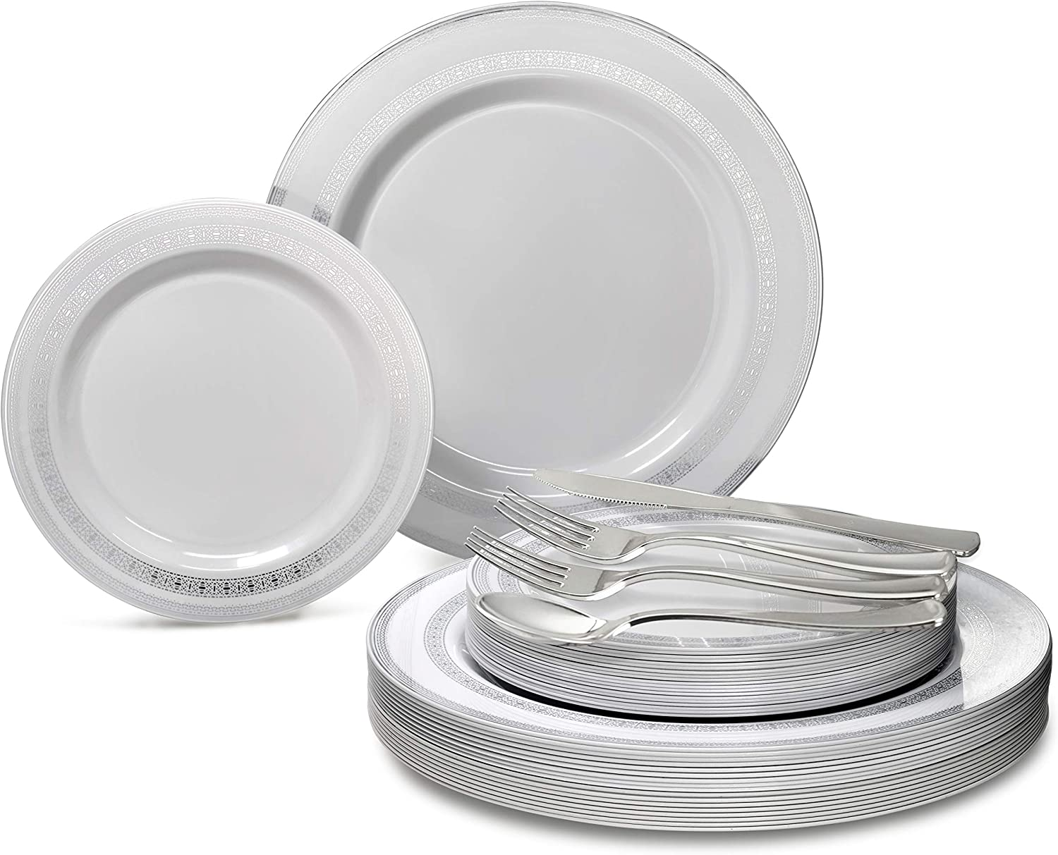OCCASIONS 360 PCS   60 GUEST Wedding Disposable Plastic Plate and Silverware Combo Set (Lace in White & Silver)