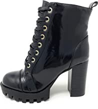 Womens Glenna Casual Lace Up Combat Block Stacked Heel Ankle Bootie