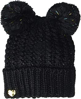 Betsey Johnson Glow Up Cuff Hat with 2 Poms