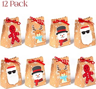 NIMU 12 Pack Christmas Gift Bag Reusable Craft Paper Boxes for Presents Candies Cookies Bundle Xmas Theme Gift Wrapping Bags Great Holiday Bulk Prime