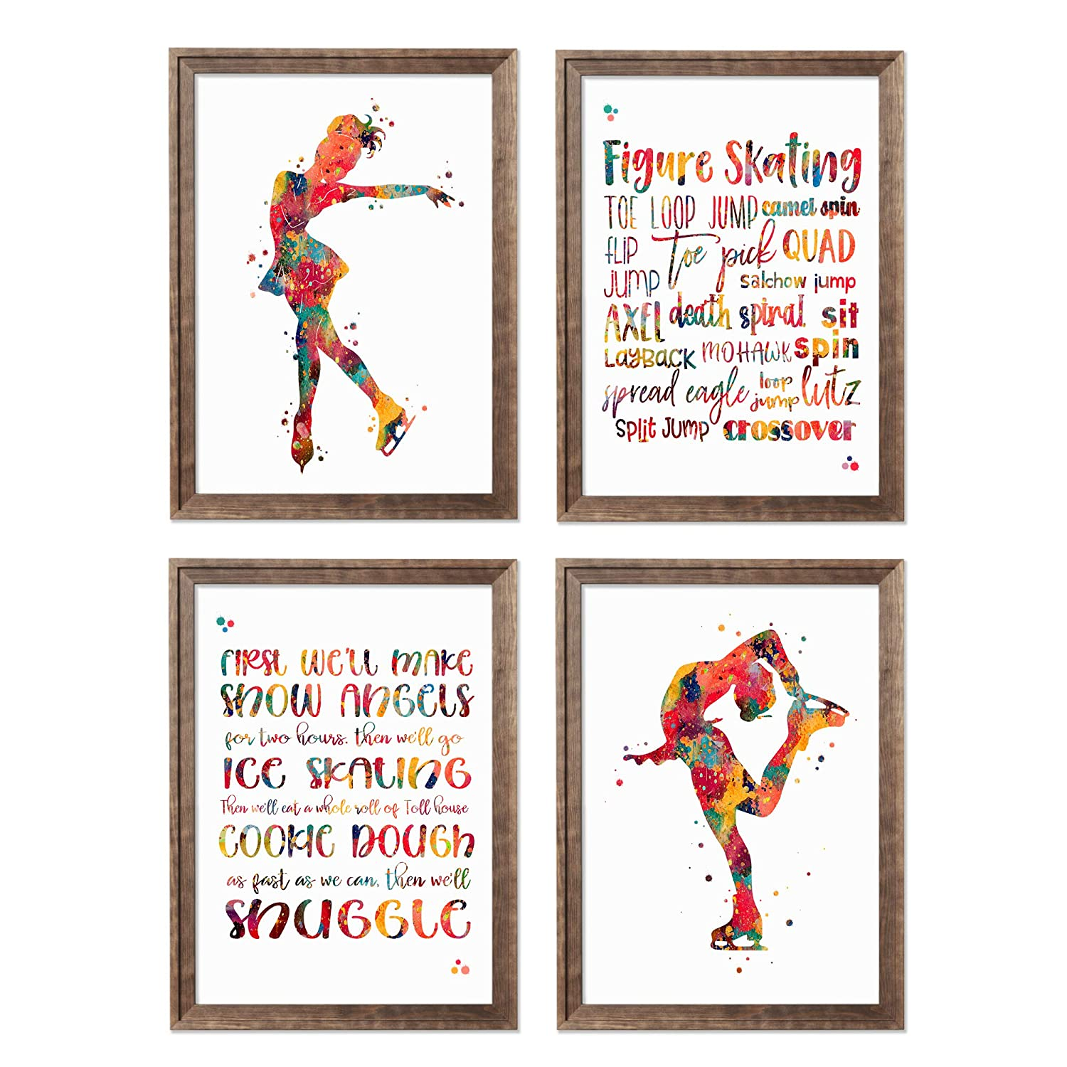 Ice Skating Watercolor Direct sale of manufacturer Poster Set D Great interest Skater Woman Girl Female