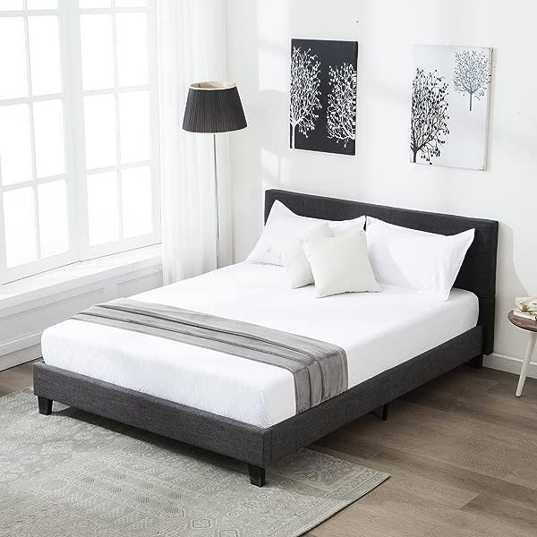 Mecor 软垫亚麻女王平台床金属框架与木条支撑方形缝合床头板黑色大号