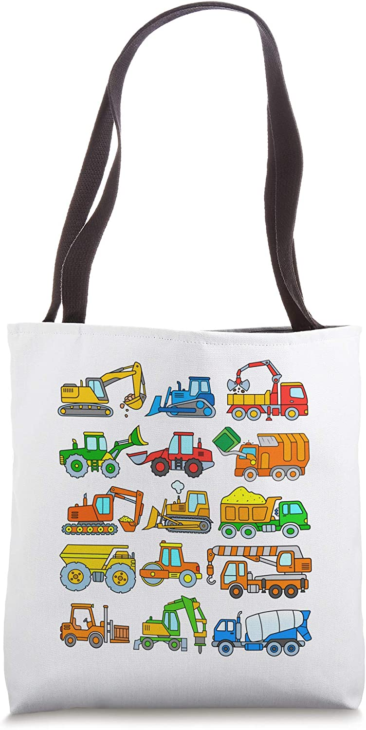Digger Truck Boys Toddlers Kids Trucks Construction Vehicles Tote Bag