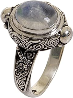 NOVICA Oval Rainbow Moonstone .925 Sterling Silver Cocktail Ring, Magic Portal'