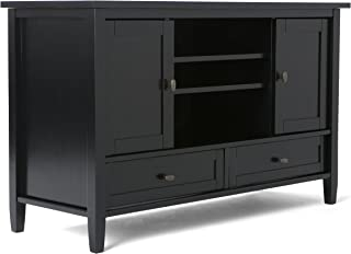 Simpli Home Warm Shaker Solid Wood 47 inch Wide Rustic TV Media Stand in Black For TVs up to 50 inches