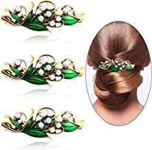 3 Pieces Pearl Hair Clip Retro Leaf Pearl Hair Clips Barrettes for Women Girls Hair Collocation