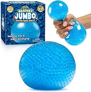 YoYa Toys Beadeez Squishy Stress Ball with Gel Water Beads - Jumbo Size (Blue) - Anti-Stress ADHD Anxiety Relief Sensory Toy for Kids and Adults - Promote Calm Focus, Reduce Hand, Wrist Pain