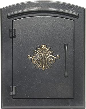 """Qualarc MAN-1401-BL Not Applicable Manchester Column Mount Rust Free Cast Aluminum Mailbox with""""Decorative Scroll Logo&#3"""