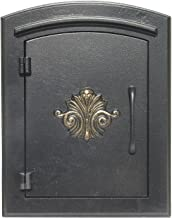 QualArc MAN-1401BL Manchester Column Mount Mailbox with Decorative Scroll Door in Black