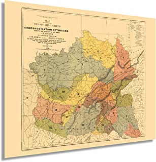 HISTORIX Vintage 1884 Cherokee Indian Map - 24x30 Inch Vintage Map of The Former Territorial Limits of The Cherokee Nation...