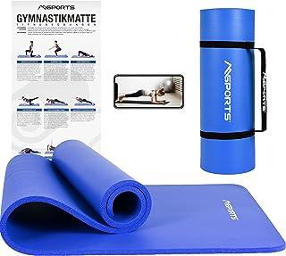 MSPORTS Premium gymnastikmatta inklusive bärrem, träningsposter, träningsapp I Hudvänlig fitnessmatta 190 x 60, 80 eller 1...