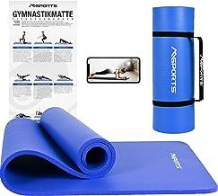 MSPORTS gymnastiekmat Premium incl. draagriem + oefenposter + workout app I huidvriendelijke fitnessmat 190 x 60 of 100 x ...