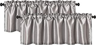 Aiking Home (Pack of 2) Solid Faux Silk Window Valance, 56 by 16 Inches, Silver