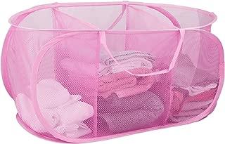 Sunbeam Mesh Triple Sorter Laundry Basket with Handles (Pink)