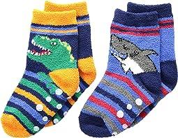 Dino and Shark Non-Skid Slipper Socks 2-Pack (Infant/Toddler/Little Kid)
