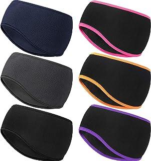 6 Pieces Ear Warmer Headband Winter Fleece Ear Cover Headband Non-Slip Cold Weather Ear Muffs Sport Headband for Outdoor A...