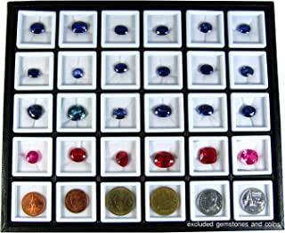 GOLbox A 30 PCS of TOP Glass Gemstone JAR Box Size 3x3 cm with Holder Tray Display Show CASE Organizer