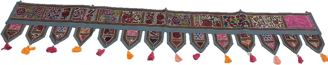 textile treasure Indian Boho Chic algodón étnico para Colgar en la Pared Vintage Patchwork Puerta Cenefa Bordada a Mano Parches Toran Ventana cenefas '80'