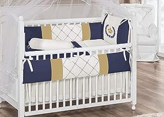 Royal Crown Theme Navy Blue Ivory Baby Boy 7 Pcs Embroidered Nursery Crib Bedding Set Bumpers + Sheet Set + Changing Pad