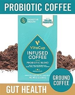 VitaCup Probiotic Blend Ground Coffee Bags 12oz with 1 Billion Probiotics, Aloe Vera, B Vitamins | Keto | Paleo | Vegan | Whole30 for Drip Coffee Brewers and French Press