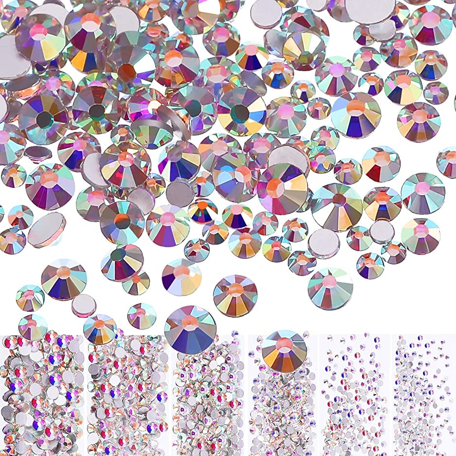 倒錯出費民間Mojoe 3456個ネイルクリスタルAbネイルアートラインストーンラウンドバックガラスチャーム宝石石、6サイズネイル用装飾化粧服靴(、混合Ss4 5 6 8 10 12)(クリスタルAb)