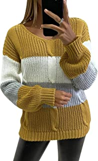 Women's Long Sleeve Color Block Sweaters V Neck Cable...