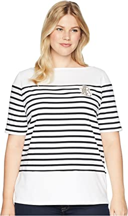 Plus Size Striped Bullion Jersey Top