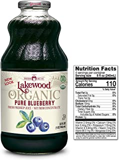 Lakewood Organic PURE Blueberry Juice, 32-Ounce Bottles (Pack of 6)